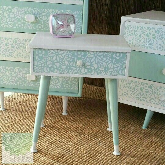 Retro bedside table upcycled using Dixie Belle Mineral Chalk Paints in Fluff and Sea Glass. the fronts have been completed with a hand made stencil from one of Shomai Blooms personal designs.