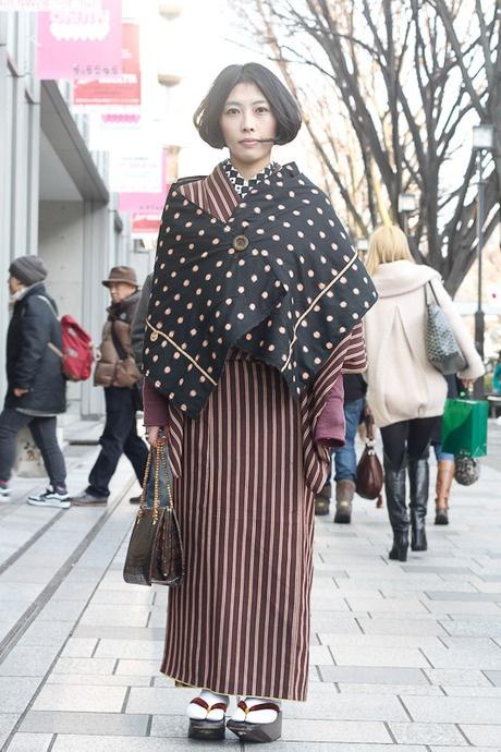 kimono @ omotesando | Fashionsnap.com love the contrasting shawl