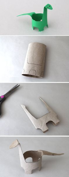 This adorable dinosaur project is perfect for reusing toilet paper rolls and activating the imagination.