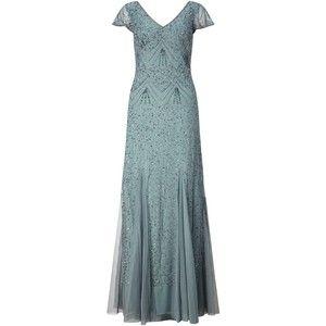 Adrianna Papell Cap Sleeve V-Neck Beaded Gown, Slate