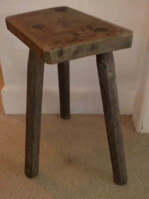 Antique 18th Century Three Legged Carved Milking Stool