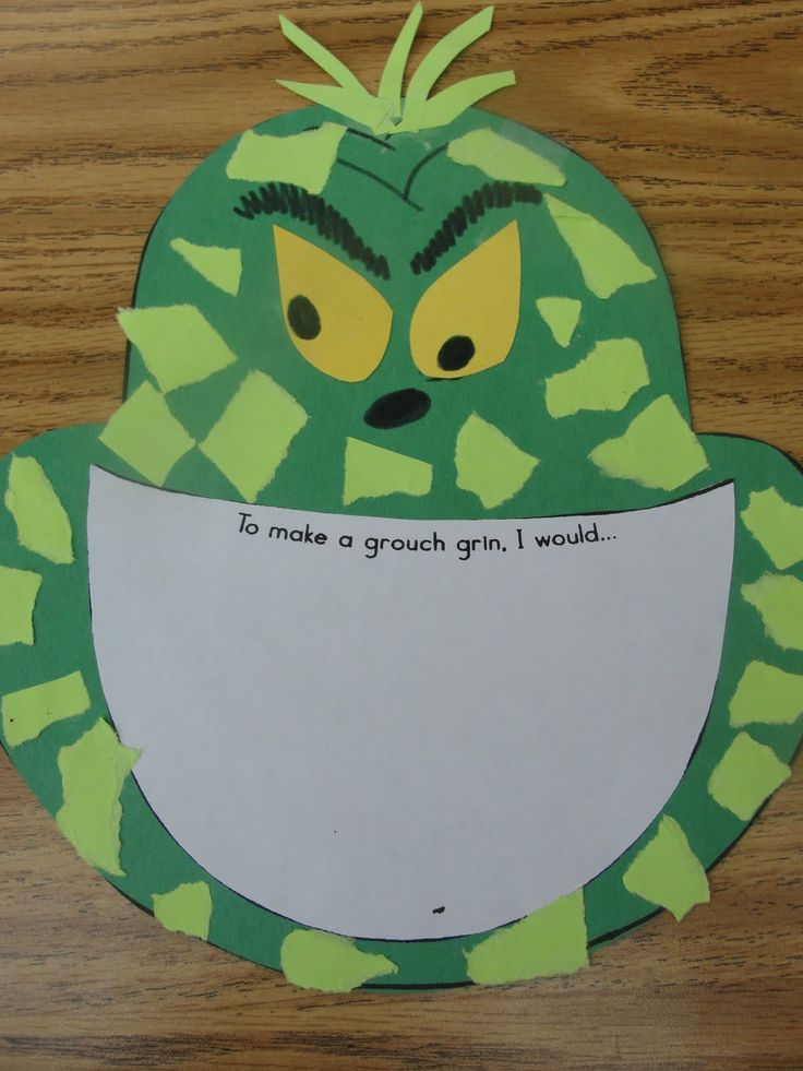 How to make a Grinch grin! Great writing activity!! It might work better for second graders to use lined paper for the grin.