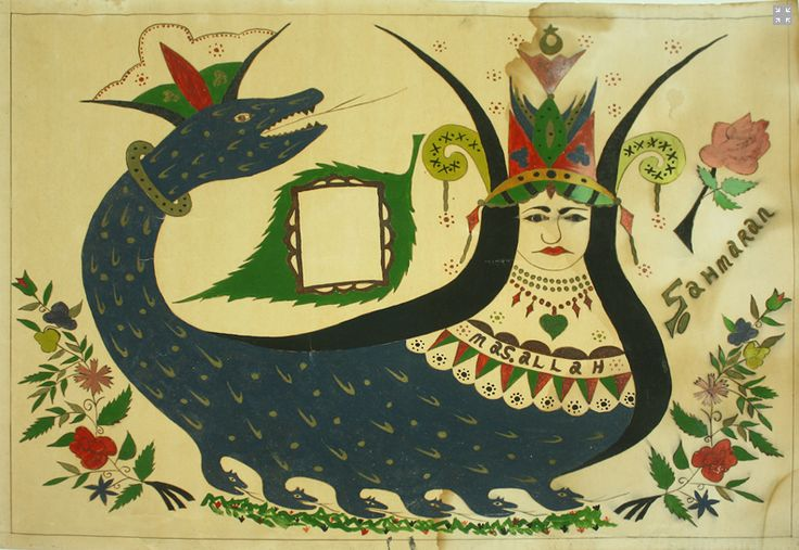 "The shahmaran, legendary snake woman of Eastern Anatolia, reverse glass painting.  From the Baski Museum in Turkey.  Read the article, ""Art from the Periphery,"" by Catherine Bayar in HandEye magazine.  Photo: Gulin Tasdelen."