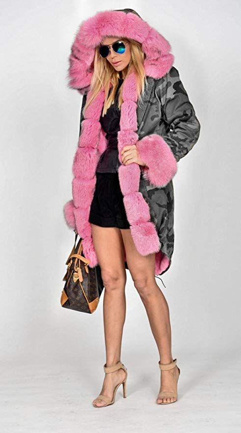8931ef71a8a Aox Women Hood Coat Faux Fur Thicken Lined Overcoat Winter Camo Plus Size  Jacket Snow Parka