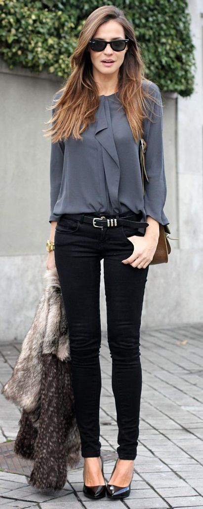 Tap into refined, elegant style with a grey fur coat and black skinny jeans. Black leather pumps are a perfect choice to complete the look.  Shop this look for $165:  http://lookastic.com/women/looks/sunglasses-long-sleeve-blouse-belt-watch-skinny-jeans-fur-coat-pumps/6642  — Black Sunglasses  — Charcoal Long Sleeve Blouse  — Black Leather Belt  — Gold Watch  — Black Skinny Jeans  — Grey Fur Coat  — Black Leather Pumps