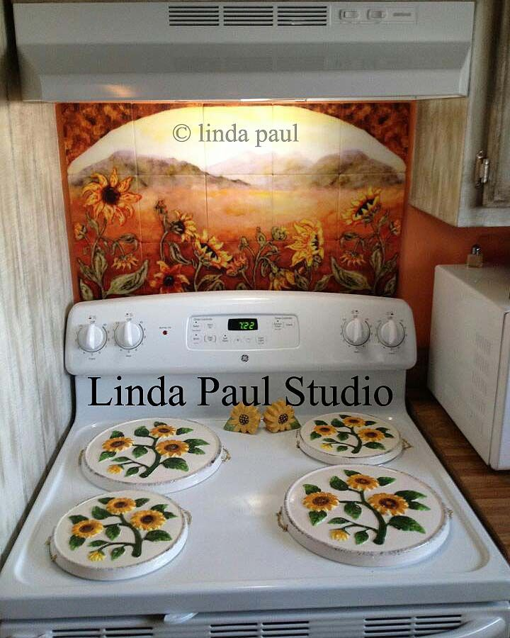sunflower kitchen | Sunflower Kitchen Decor Tile Murals - Western Backsplash of Sunflowers