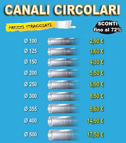 Canali circolari in lamiera zincata 8/10 in tubi spiralati da 3 metri cadauno con attacco Femmina/Femmina per la distribuzione e diffusione dell'aria condizionata. in offerta su http://www.ingrossoclima.it/offerte-canali_circolari.asp