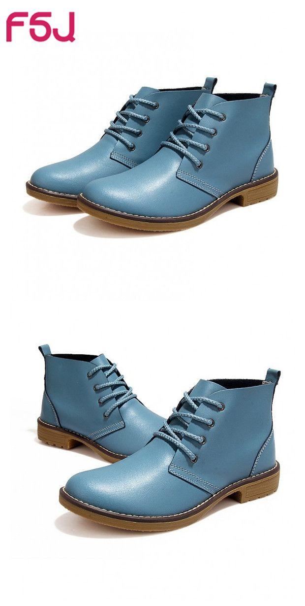 #FSJシューズ# #FSJshoes# レディース靴 オックスフォード ブルー レースアップブーツ アンクルブーツ ラウンドトゥ ヴィンテージ靴 フラット 学生用 平日( ´ ▽ ` )ノ歩きやすい、軽い┗(`・∀´・)┛カルイゼ~~