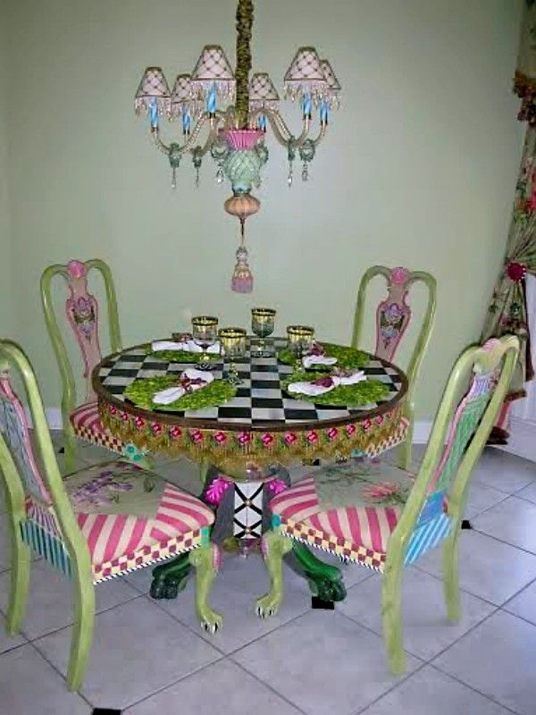 Styled to perfection, light fitting, table and chairs with items, all by MacKenzies-Child. JH