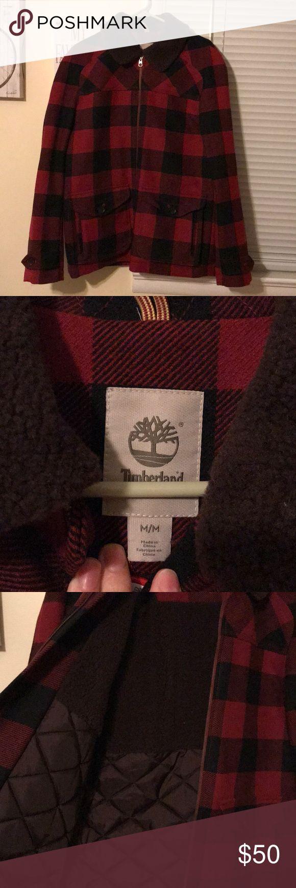 Checkered Men's Timberland Jacket Red and black checkered Timberland Jacket with brown collar. Size medium. NWOT Timberland Jackets & Coats