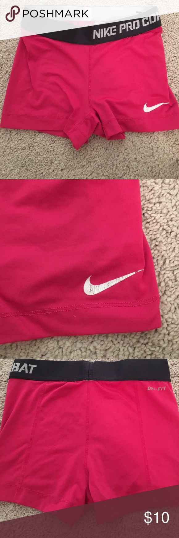 Nike Pro Combat Spandex Shorts Gently used, Nike sign is slightly crackled (see picture) other than that no holes,etc. Nike Shorts