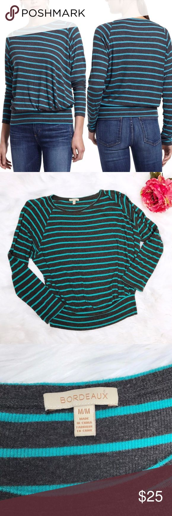 Anthropologie Striped Thin Ribbed Boat Neck Top Thin ribbed boat neck top with teal stripes. SO soft with a flattering cut! Brand is Bordeaux for Anthropologie. Anthropologie Tops Tees - Long Sleeve