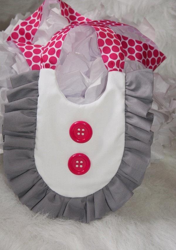 MOD Ruffle Baby Bib - Gray / GREY / Hot PINK Retro Bib, Baby Shower Gift, Photo Prop. $15.99, via Etsy.