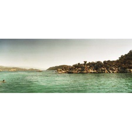 Rocky island in the Mediterranean sea Sunken City Kekova Antalya Province Turkey Canvas Art - Panoramic Images (30 x 13)