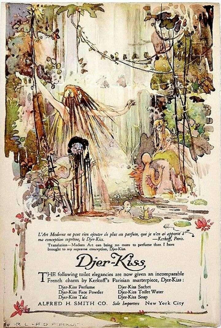 Djer Kiss 1912 Mermaid Art Cute Illustration Vintage Ads
