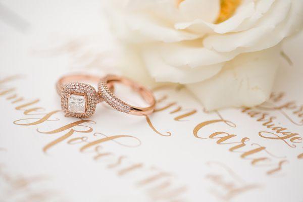 rose gold rings // photo by Katelyn James // http://ruffledblog.com/rose-gold-wedding-ideas