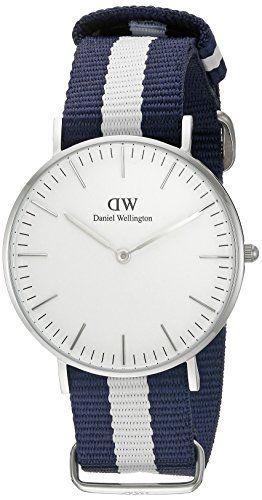 Daniel Wellington Glasgow Silver Women's Quartz Watch with White Dial Analogue Display and Multicolour Nylon Strap 0602DW
