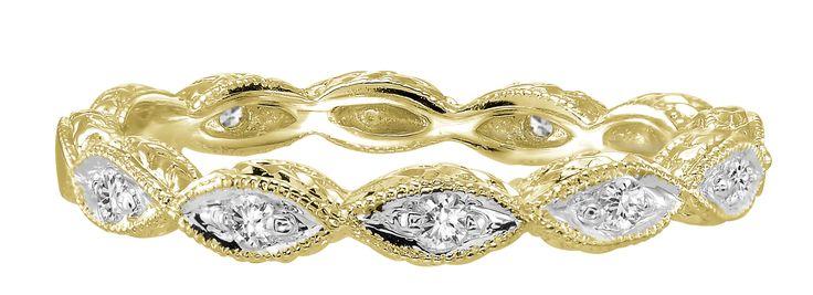 Yellow Gold Art Deco Diamond Band .10ct tw.