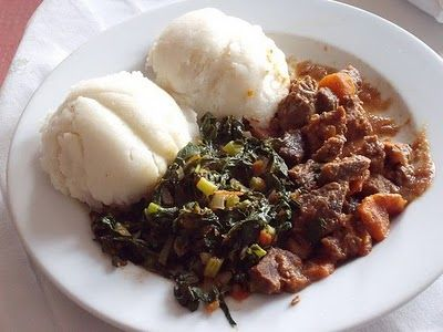 Sadza, nyama, nemaveggie (white cornmeal porridge, meat, and veggies) is the staple food for most of Zimbabwe's indigenous peoples. Traditionally, sadza is cooked in a clay or cast iron pot over an open fire.
