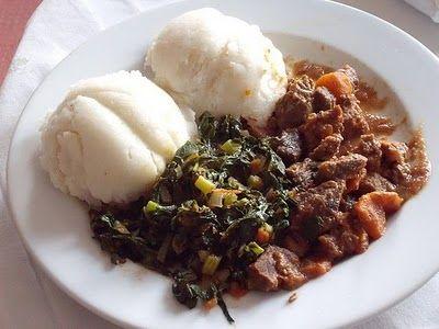 Sadza, nyama nemaveggie :) Aka Sadza, meat, and veges :) Yum yum in my belly!