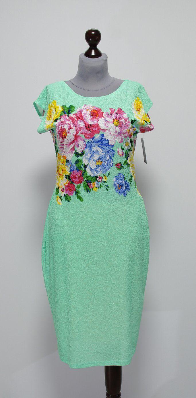 Летнее бирюзовое платье-карандаш с цветами