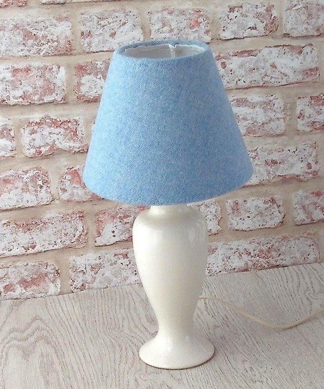 Harris Tweed Cone Lampshade Light Blue British Wool Fabric Table Lamp Shade Lamp Shade Table Lamp Shades Blue Lamp Shade