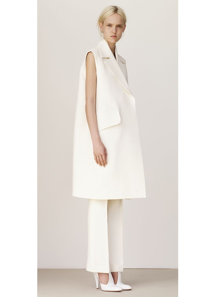 Oversized suit struct....Look 15 Spring / Summer Collection 2015 collections - Ready to wear | CÉLINE SLEEVELESS COAT IN OFF WHITE WOOL CREPE , CROPPED TROUSER IN OFF WHITE WOOL CREPE