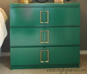 Ikea Hack - Emerald Green Bedside Table Upgrade and sideways handles