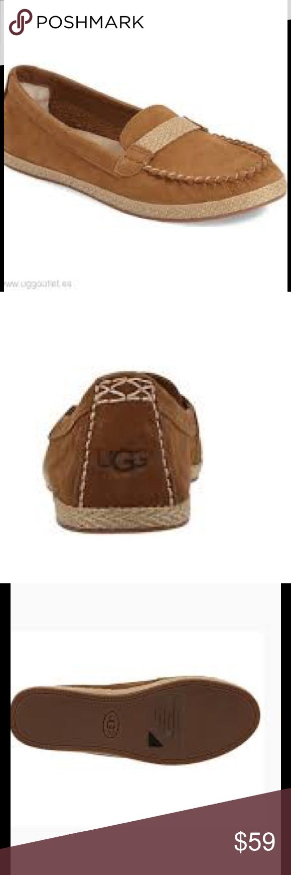 🆕 UGG Rozie nubuck moccasins chestnut Get the beauty and style of espadrilles with a comfort of moccasins, all combined in Rozie shoes by UGG Australia.  Soft nubuck upper  Leather lining  Sheepskin heel counter  Rubber outsole.  Brand new in box.  Smoke free and pet free. UGG Shoes Moccasins