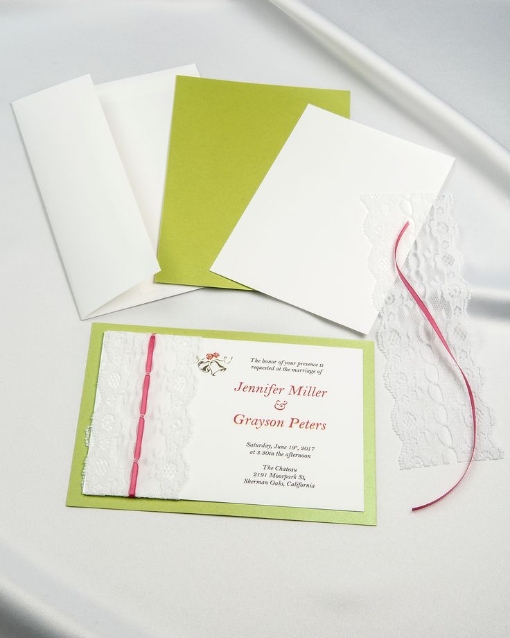 Lime Green Threaded Real Lace DIY Invitation Package Allows You To Design  And Print Your Own