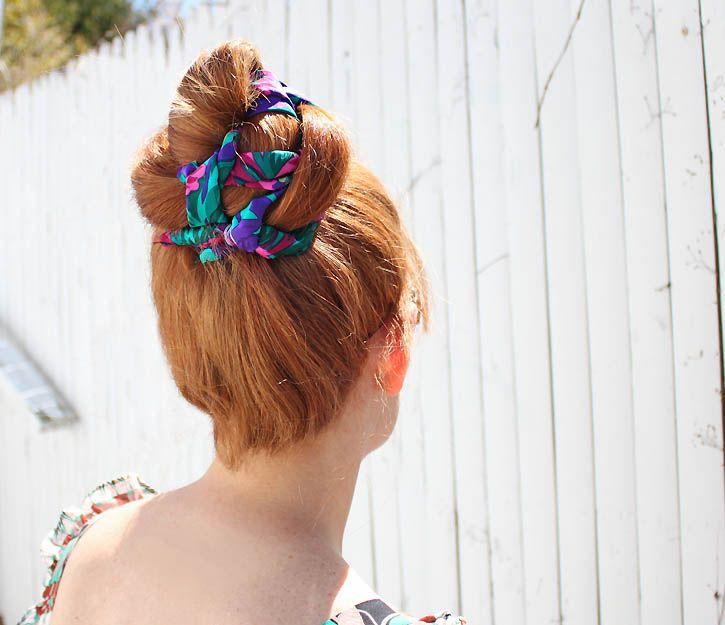braided scarf bun tutorial