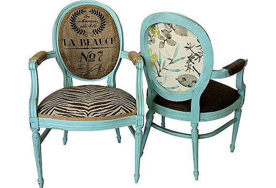 Pair Of French Aqua French Louis Xvi Bergere Armchairs