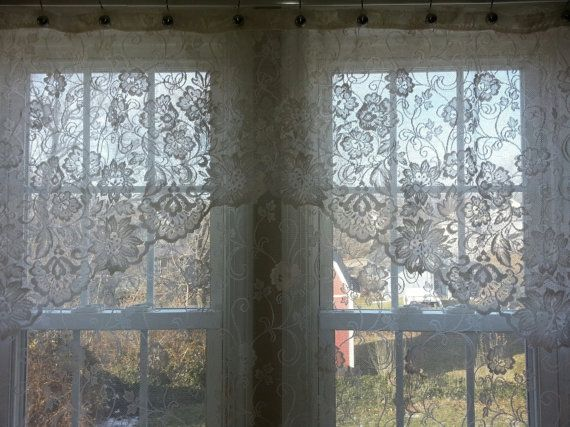 vintage white lace shower curtain with valance by photos of new at