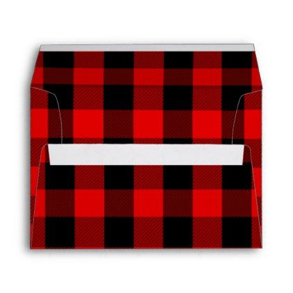 Rustic Buffalo Check Lumberjack Plaid Red 5X7 Envelope - black gifts unique cool diy customize personalize