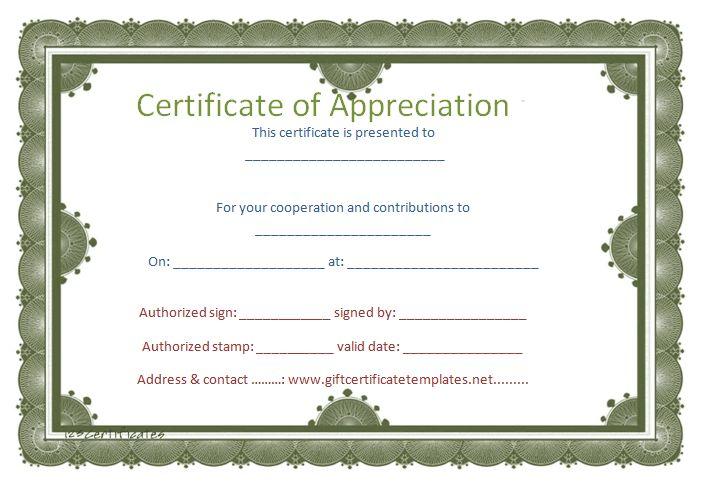 Free Appreciation Certificate Templates For Word Certificates of – Free Printable Certificate of Recognition