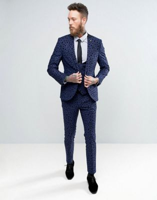 Noose & Monkey Super Skinny Suit With Blue Leopard Flocking