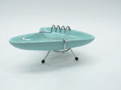 Vintage Mid century modern Very Rare Boomerang Ashtray TURQUOISE Ceramic