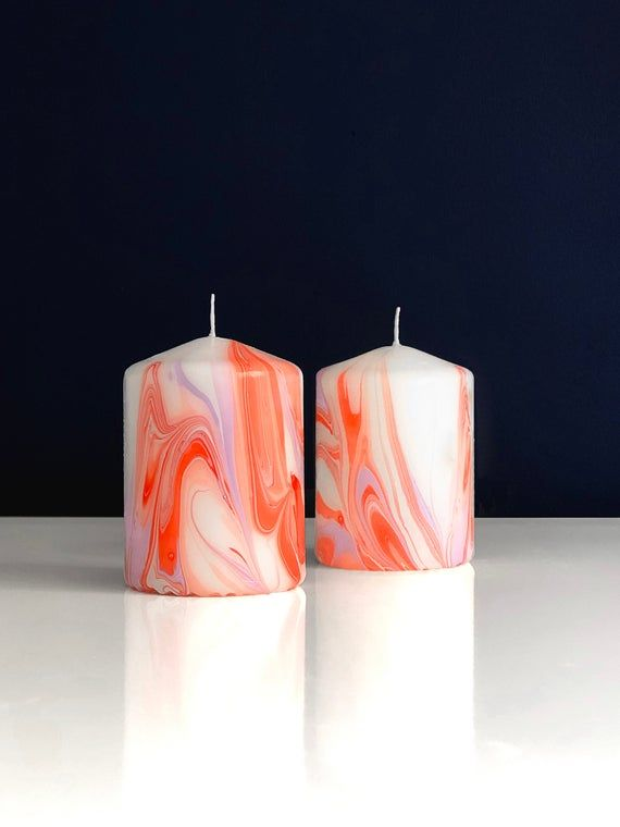 Marbled Candle Hand Dipped Orange Purple Pillar Candle Etsy Purple Pillar Candles Pillar Candles Hand Candle