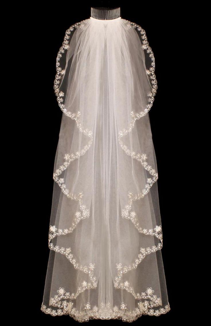 Cascade Beaded Embroidery Fingertip Wedding Veil