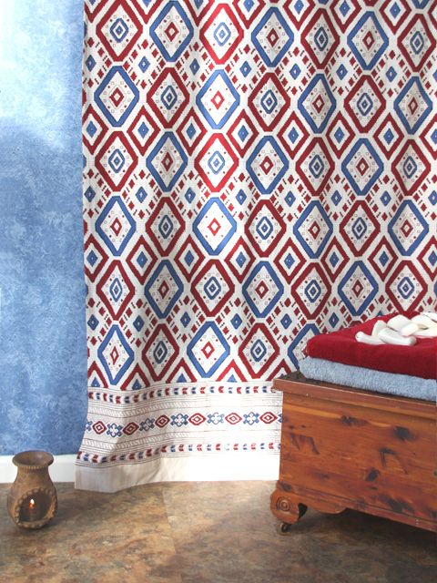 Navajo Rhythms ~ Red White and Blue Southwestern Shower Curtain