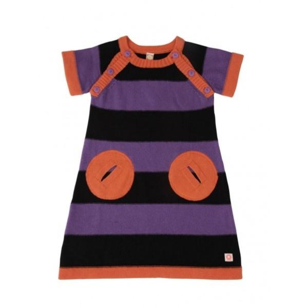 Katvig Mädchen Kleid, Purple & Black | Dänische Kindermode | Organic Cotton | Kindermode aus Dänemark