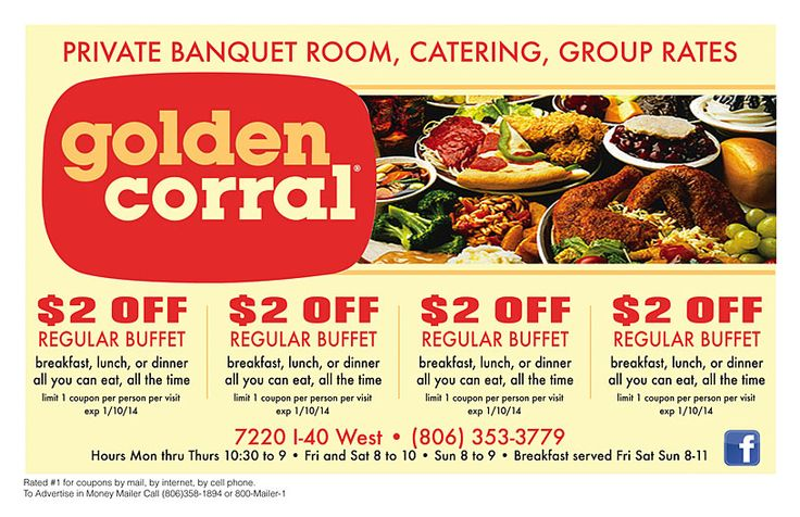 Golden Corral Coupon 2014 2$ OFF regular buffet breakfast, lunch or dinner http://www.pinterest.com/TakeCouponss/golden-corral-coupons/