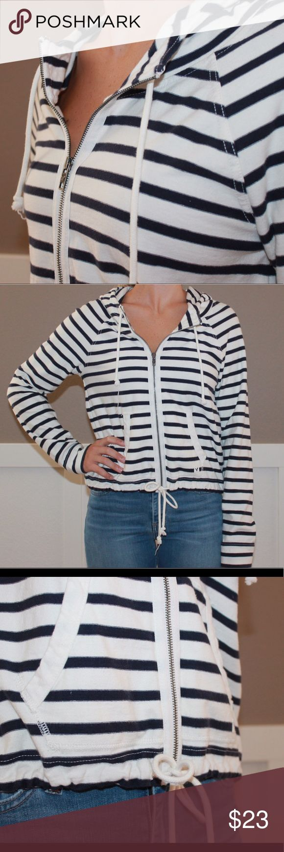 Striped Blue & White Zip-Up Great zip-up for spring/summer/fall. Nautical looking. American Eagle Outfitters Tops Sweatshirts & Hoodies