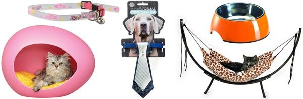 Fuzzylicious Gadgets voor hond & kat, Een poezenmand in de vorm van een knalroze ei, een halsband voor je hond met een stropdas of een bal met daaraan een lange tong of snor van rubber, ha...