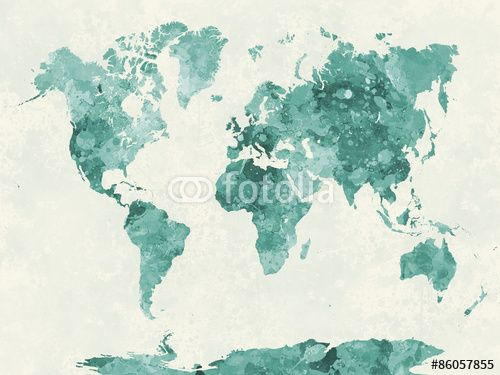 World map in watercolor green