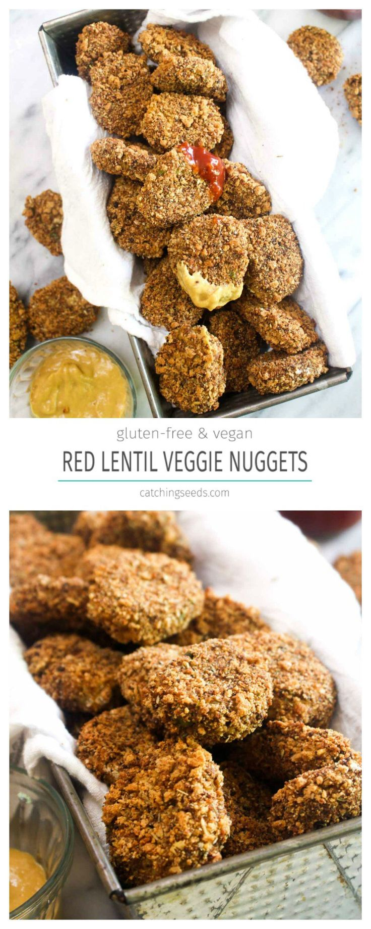 These Red Lentil Veggie Nuggets are a healthy recipe that the whole family will love! These tasty bites sneaks in lots of protein and several servings of vegetables! | CatchingSeeds.com