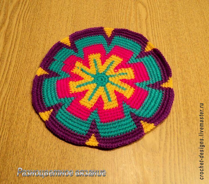 Купить Вязаная крючком салфетка-мандала - подарок для женщины, небольшой подарок, недорогой подарок