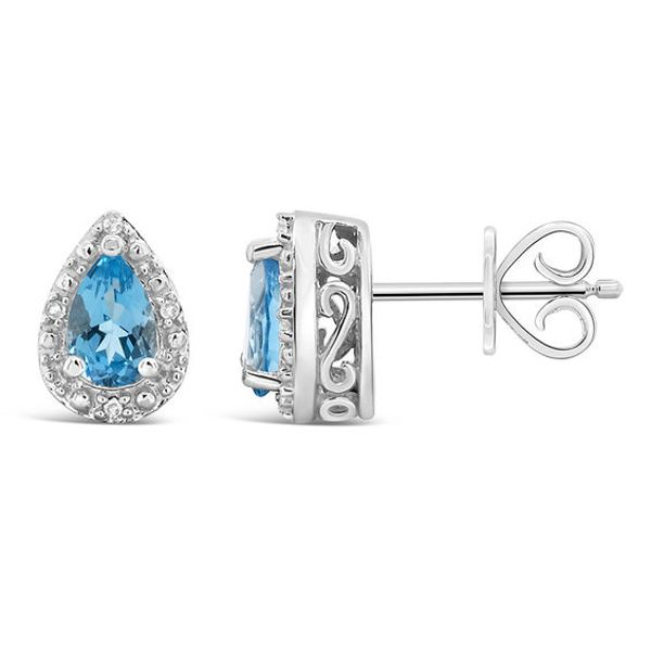 18K Gold Filled 9mm Round Blue Topaz Flower Zircon Gems Hoop Women Earrings BR