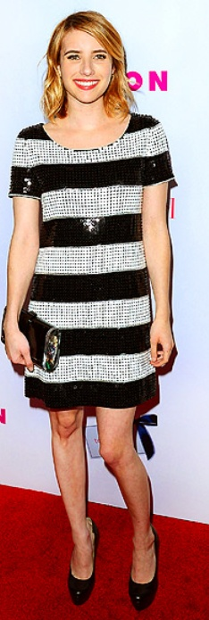 Who made Emma Roberts' black and white stripe sequin dress, black pumps, and clutch handbag that she wore in Hollywood?