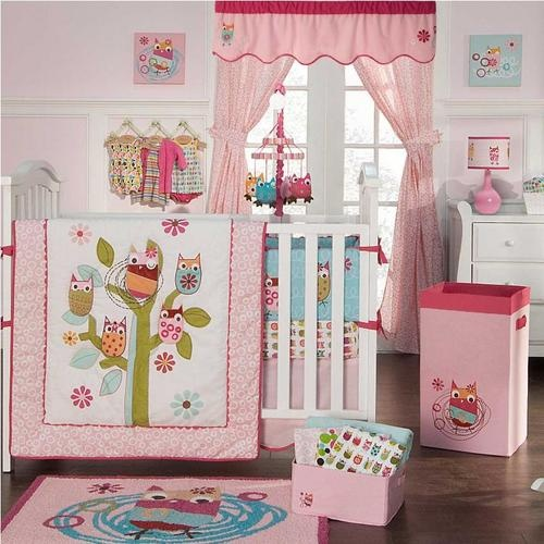 Owl baby girl nursery crib bedding set owl nursery crib and owl